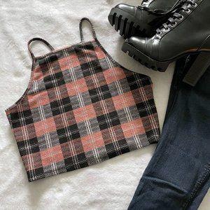 NWOT Divided H&M Pink & Black Glitter Plaid Crop Top